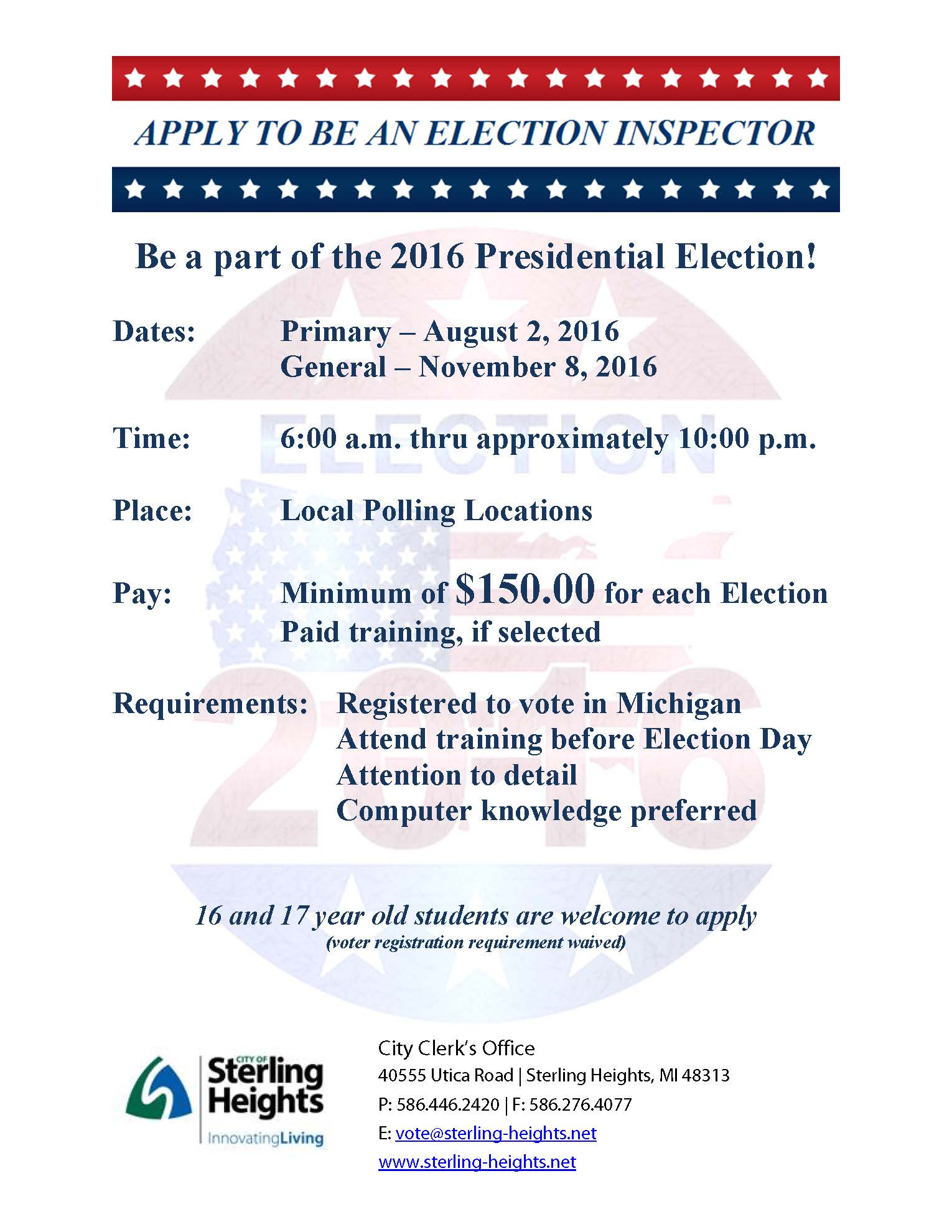 Apply to be an Election Inspector Flyer
