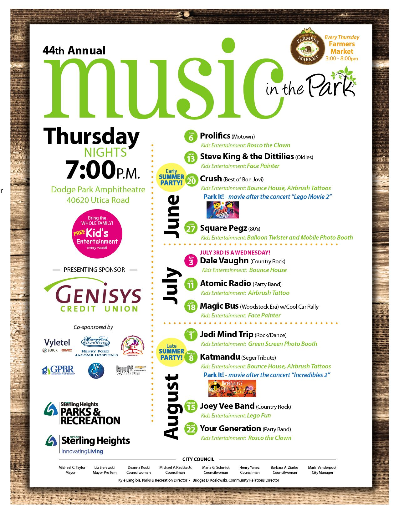 2019 Music in the Park Schedule