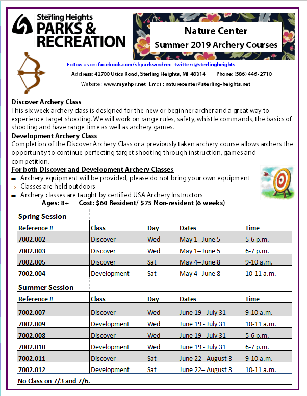 SHNC Archery Programs Summer 2019