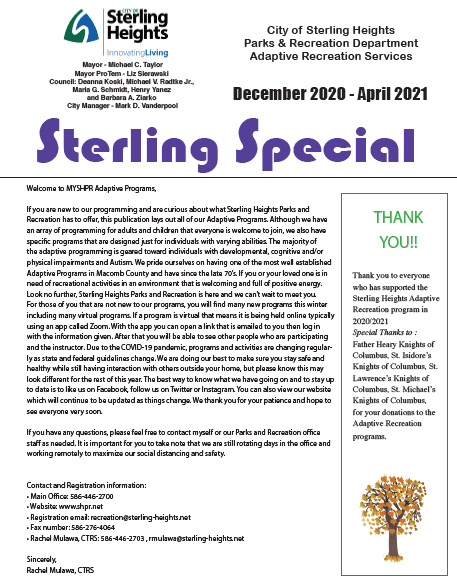 Sterling Special Winter 2021 Opens in new window